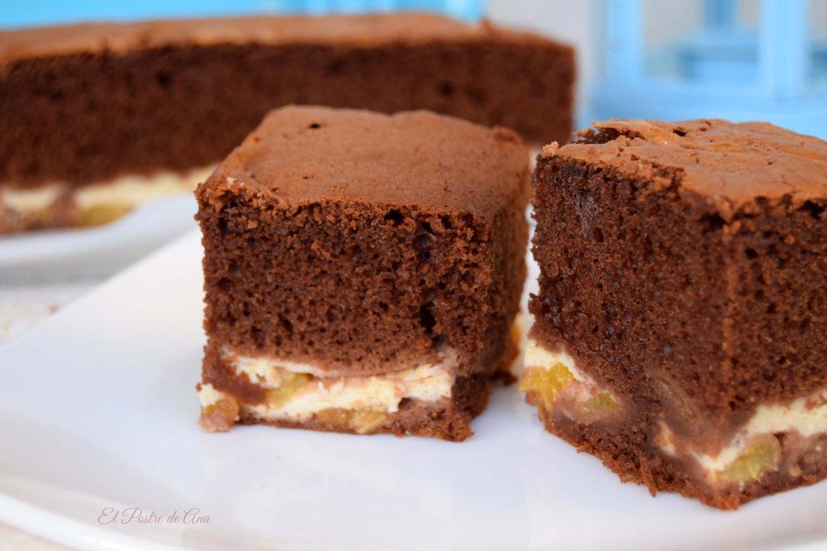 Pastel de chocolate y mascarpone conalbaricoque